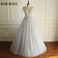 Rose Moda Short Sleeves Silver Long Prom Dresses 2018 with Lace V Neck Prom Ball Gown Custom Make