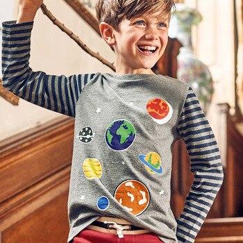 Little maven 2-8Years Autumn Luminous Universe Planet Boys Long Sleeve T Shirts Toddler Kids Fall Clothing Children's Clothes 3