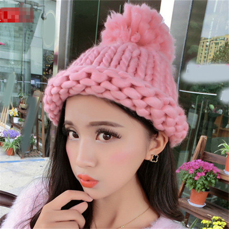 100% Handmade Solid Color Pompom Thick Woolen Yarn Knitted Winter Hat Women Coarse Knitted   Beanies     Skullies   Caps with Pompom