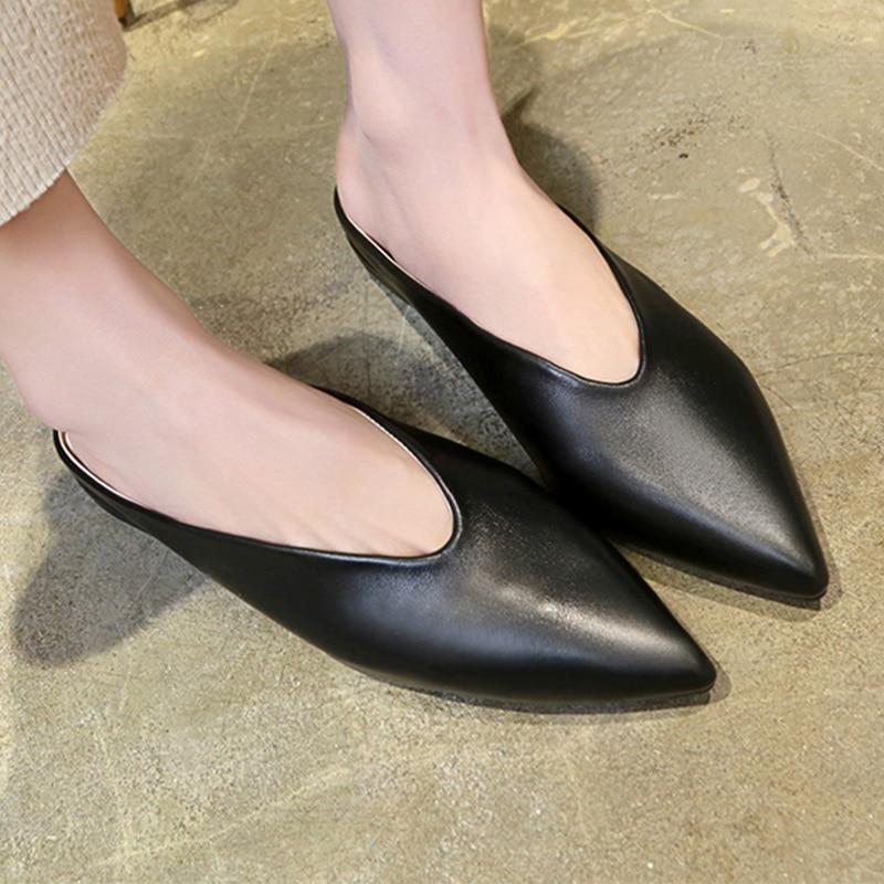 Moxxy Women Low Heel Shoes Brand 2018 Fashion Mules For Women PU Leather Pointed Toe Slip On Flip Flops Women Slipper in Women 39 s Pumps from Shoes