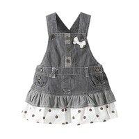 0 3 Year Children Girls Denim Dress Overalls 2016 Spring Autumn Style Kids Girl Jean Bow