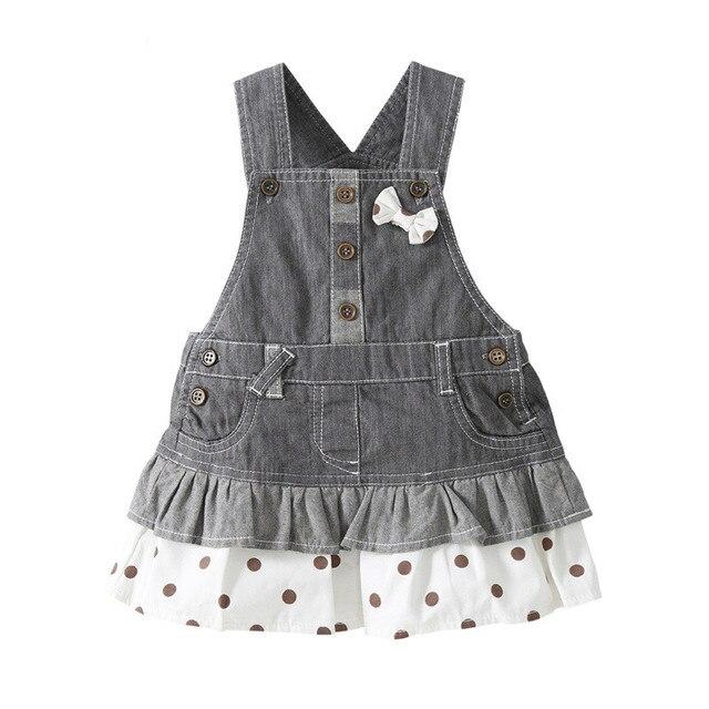 BEBINI 0-3 Year Children Girls Denim Dress Overalls 2016 Spring Autumn Style Kids Girl Jean Bow Straps High Quality Kids Clothes