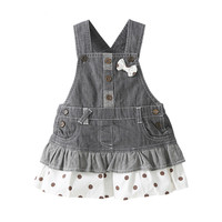 0 3 Year Children Girls Denim Dress Overalls 2016 Spring Autumn Style Kids Girl Jean Bow