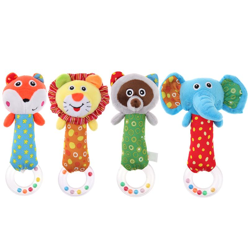 Cute Plush Animal Hand Bells Baby Toys Baby Rattle Ring Bell Toy Newborn Infant Early Ed ...