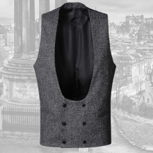 2017 Mens new winter grey double breasted slim retro woolen casual suit vest men British style solid brand design waistcoat vest(China)