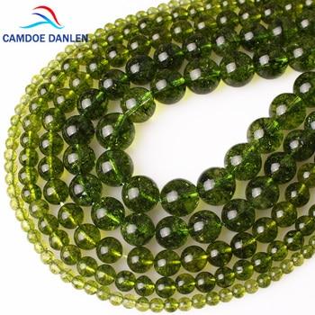 CAMDOE DANLEN Alami Batu Kristal Hijau Peridot Batu Longgar Beads 4 6 8 10 12 MM Fit Diy Beads Untuk Membuat Perhiasan Grosir