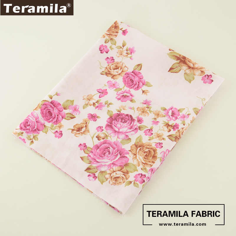 Teramila Fabric Printed Blooming Pink Rose Style 100% Cotton Tissue Patchwork Quilting Textile DIY Baby Dress Scrapbook Sewing