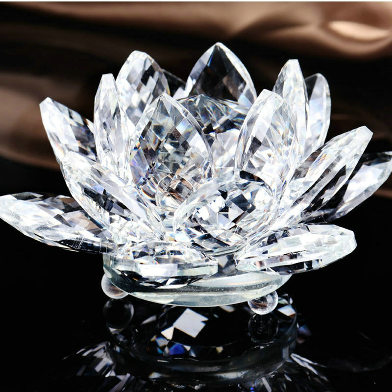 Clear Pure Holy 10cm Crystal Lotus Flower Quartz Glass Religious Souvenirs Home Decoration