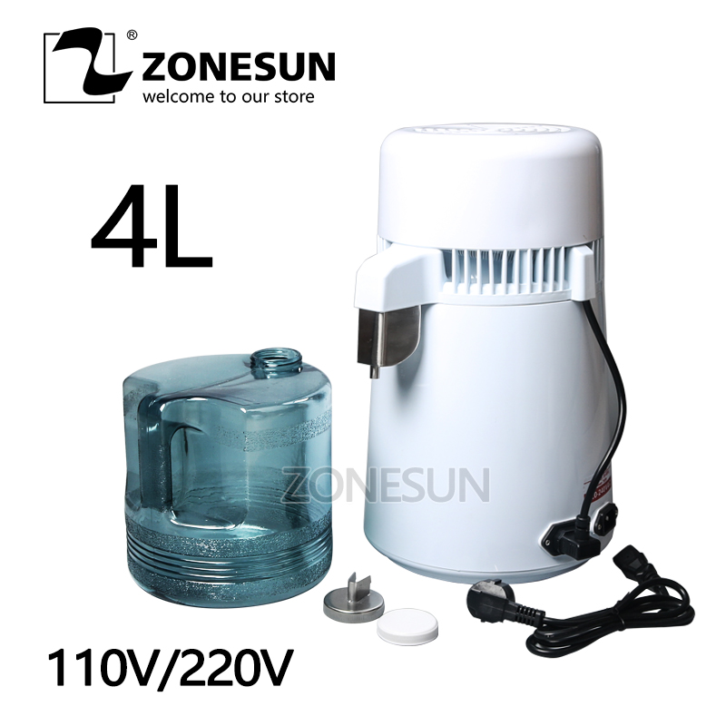 ZONESUN 4L Portable Stainless steel Water Distiller Pure Water Filter Purifier Water Purifier Filter Treatment Container small bottle filling machine