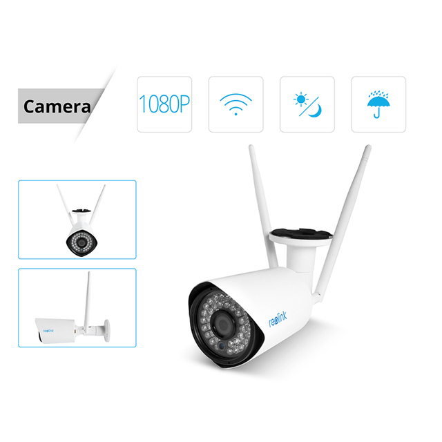 Reolink 1080P WiFi Camera Kit 4ch 2MP Wi-Fi NVR&2 Full HD Wireless Cameras for Home Surveillance 1TB HDD RLK4-210WB2