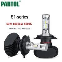 Partol S1 H4 H7 H11 H13 9005 9006 LED Фары для авто Освещение авто фары автомобилей Hi-Lo луч 50 вт 8000lm 6500 К 12 В 24 В