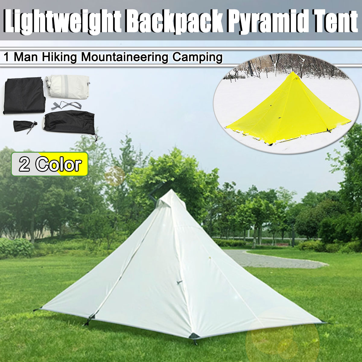 Outdoor Portable Waterproof Backpacking Tent for 1 Person Hiking Camping Fishing Ultralight Camping Tent 210T Top PolyesterOutdoor Portable Waterproof Backpacking Tent for 1 Person Hiking Camping Fishing Ultralight Camping Tent 210T Top Polyester