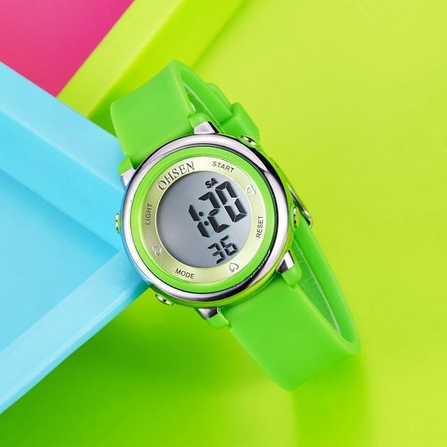 OHSEN Fashion Kid Sports Watches Waterproof Children Jelly LED Digital Watch Girls Boys Multifunction Clock 1605