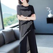 XL брендовые комплекты летний женский костюм пригородный OL костюм с круглым вырезом нерегулярная летучая мышь футболка+ девять очков широкие брюки 2 шт. костюмы