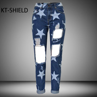 Boyfriend Ripped Holes Jeans Women 3D Printed Five Pointed Star Female Denim Pants Casual Fashion Straight