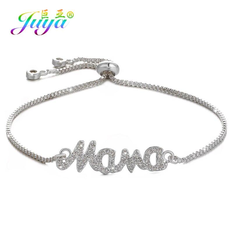 Women Bracelets Supplies Adjustable Silver Bracelets Bahama MaMa Charm Bracelets For Mom Girl New Year's Gift Friendship Jewelry