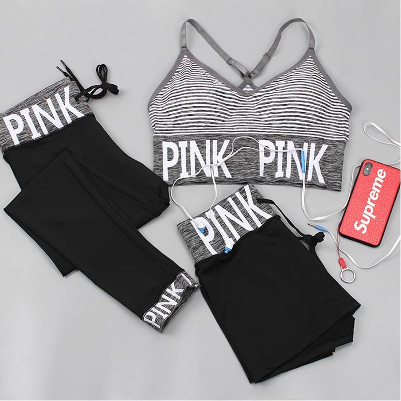 PINK Letter Sport Set Women Yoga Sets Sports Bra+Yoga Pants+Shorts Fitness Clothing Sportwear Gym Sets Women Workout Clothes