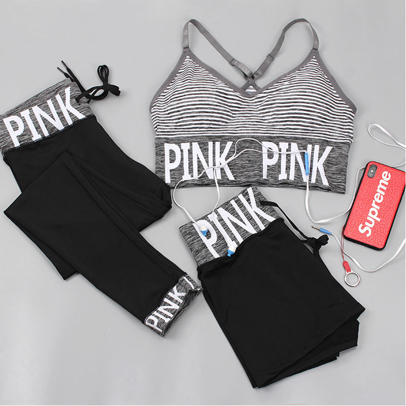 PINK Letter Sport Set Women Yoga Sets Sports Bra+Yoga Pants+Shorts Fitness Clothing Sportwear Gym Sets Women Workout Clothes