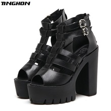 TINGHON Women gladiator sandals summer shoes Platform Shoes thick heel 13cm strap-heels platform Sandals