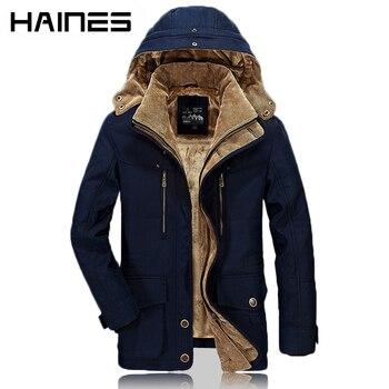 HAINES 2018 Man Jacket Fashion Fur Hooded Casual Military Winter Jackets Men Thicken Warm Cotton-Padded Windbreaker erkek mont girl shoes in sri lanka