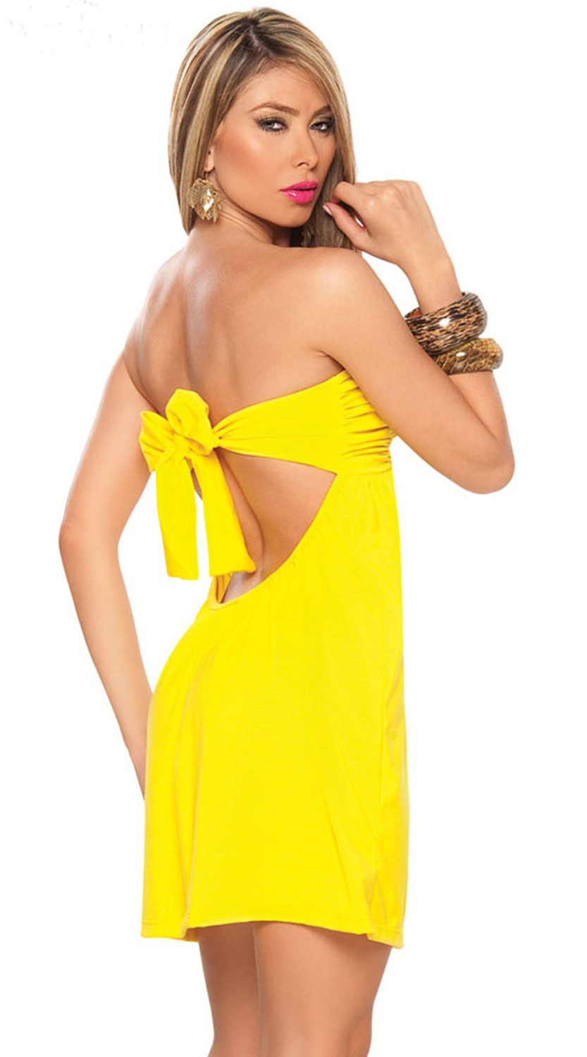 bf4dfb890813 Bow knot Yellow Sexy Mini Strapless Short Dress Skirt Lady Babydoll  Lingerie Leisure Dress Skirt Sexy Adult Party Costume(N82)-in Dresses from  Women's ...