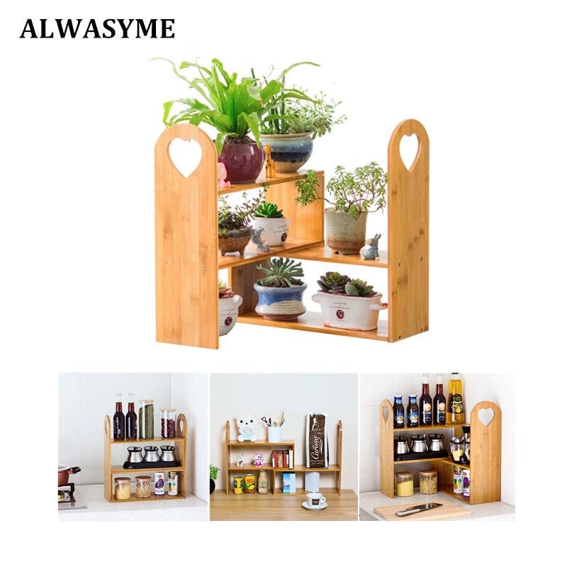 ALWAYSME Bamboo Adjustable Desk Organizer Plant Stand Shelf Shelves ...