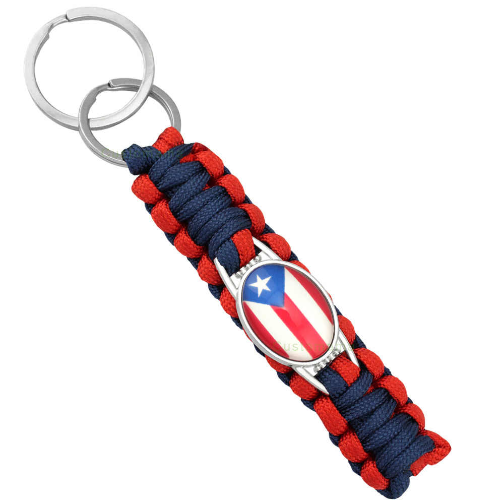 Flag Football Camping Hiking Outdoor Survival Paracord Charm Keychain Key  Chains Women Men Jewelry Gift Many d6c7406657