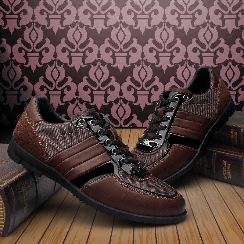Brand Men Casual Shoes Genuine Leather Men Shoes Lace-up Breathable Soft Autumn Casual Flats Formal Shoes Plus Size 45