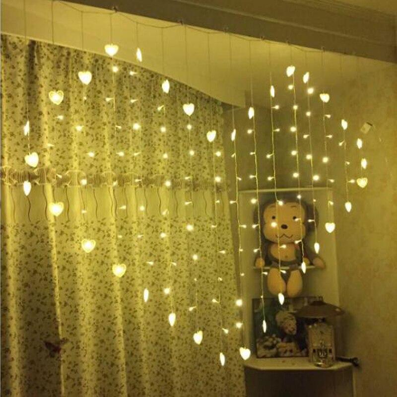 EEG Lighting Heart Shape Love LED String Night Light Warm White/Purple Christmas LED Fairy Lights for Party/Window/Wedding