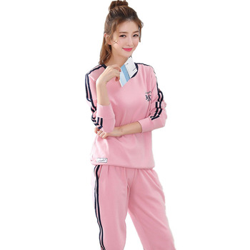 Pajamas for Women Long Sleeve Sleepwear Ladies Soft Cotton Sport Style Nightwear Round Neck Pajamas Set Striped Pigiama Donna pajamas