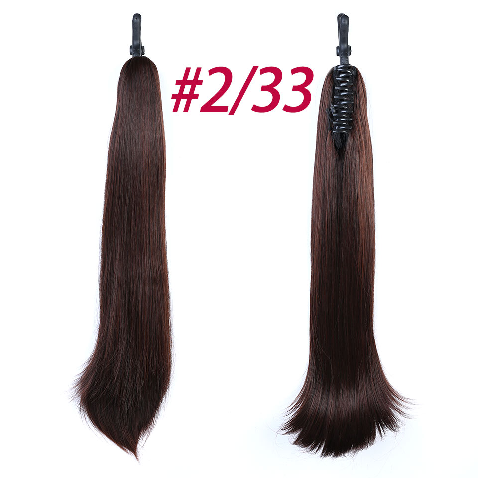 JINKAILI 24 Long Straight Synthetic Ponytail Wrap Around Claw on Ponytail Hair Extensions Heat Resistant Hair Tail
