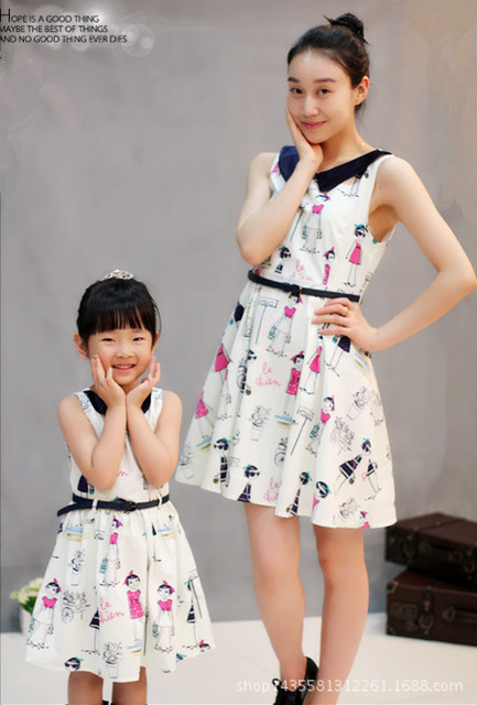 Baby Girls Dresses Summer Matching Mother Daughter Dress Plus Size Lady cartoon Print Cotton toddler Family Clothing Vestidos
