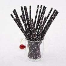 500pcs Paper Drinking Straws Blacl Star Chevron Straw for Baby Shower Wedding Kids Birthday Halloween DIY Party Decor Xmas