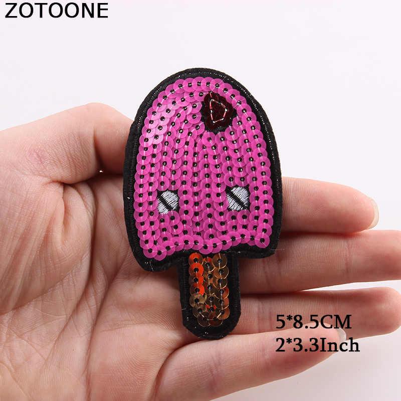 Zotoone Bordir Hewan Makanan Buah Huruf Patch Besi Pada Mata Kucing Payet Patch Tas Applique Fabric untuk Pakaian DIY Lencana D