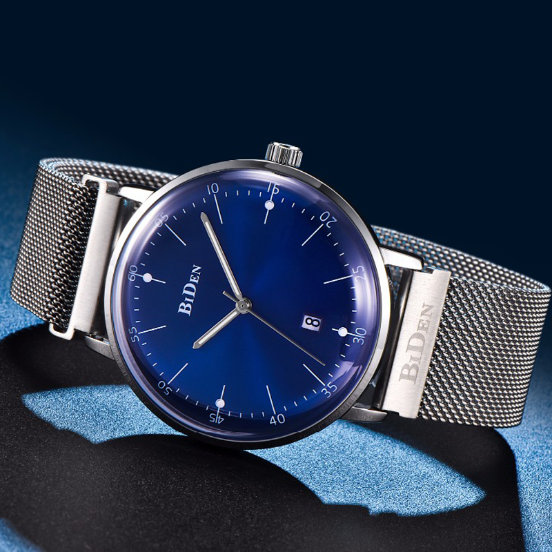 BIDEN New Top Luxury Watch Men Brand Mens Watches Ultra Thin Stainless Steel Mesh Band Quartz Watch Fashion casual Wrist watch longbo ultra thin stainless steel quartz wrist watch for men silver