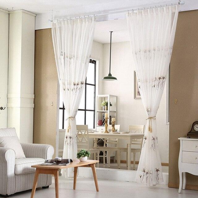Top Finel Coton Lin Blanc Prêt Made Pas Cher Brodé Sheer DandelionCurtains  Pour Salon Chambre Enfants