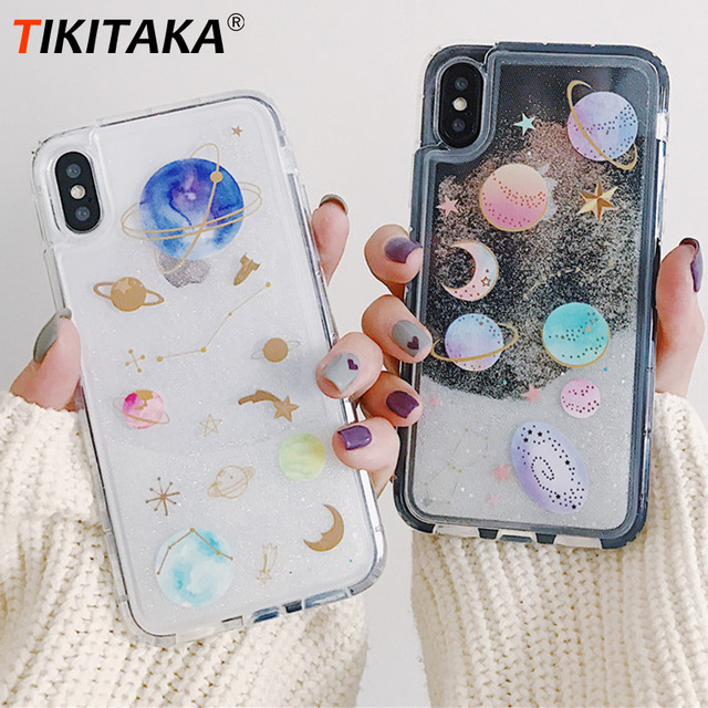fashion glitter case for iphone 7 6 6s plus covers quicksand liquidfashion glitter case for iphone 7 6 6s plus covers quicksand liquid planet moon star mobile phone case for iphone x 8 8 plus hot