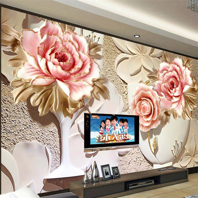 Beibehang 3D Stereoscopic Carved Flowers Stand Lottery Murals TV Backdrop Decorative Painting The Living Room Sofa