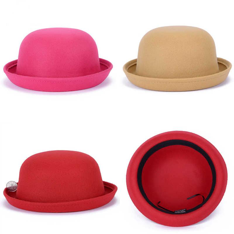 fb32804f1b2d3 Autumn Winter wool felt fedoras hat solid Dome Princess bowler hat chapeau  headgear trilby for children