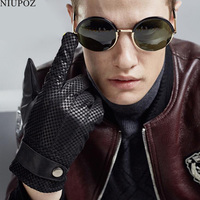 Erkek Yeni Moda Güz Kış Hakiki Deri Keçi Eldiven Siyah Sıcak Sürüş Eldivenler Tam Parmak Koyun Eldiven Eldivenler S99