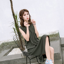 Women summer solid maxi dress Side Split Sleeveless t shirt dress holiday long dress loose casual party dresses knitted sundress
