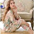Estilo japonês kimono sleepwear primavera e no outono plus size conjuntos de pijama de manga longa mulheres cinto de algodão 100% salão