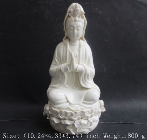 26 cm Exquisite China dehua white porcelain sitting guanyin bodhisattva statue in Statues Sculptures from Home Garden
