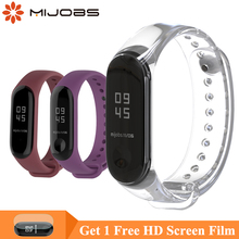 Mijobs Bracelet for Xiaomi Mi Band 3 Sports Strap Watch Silicone Wrist 4 Accessories Miband