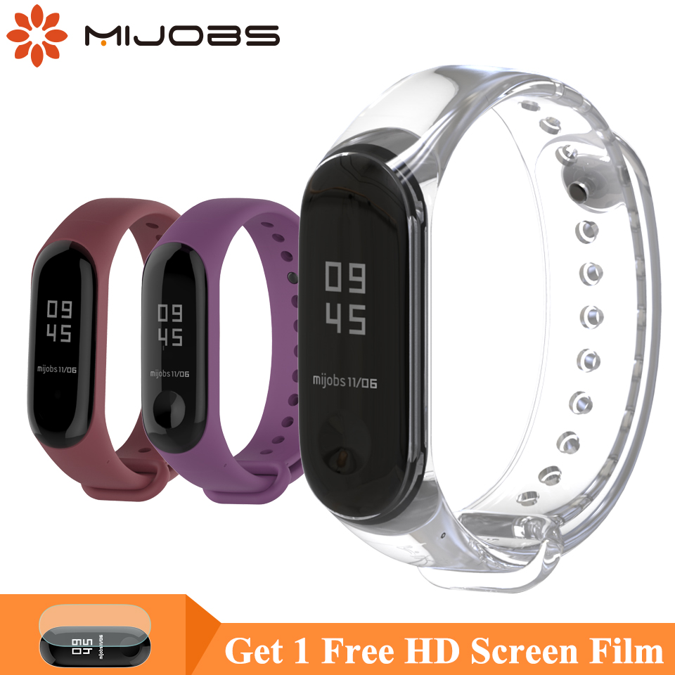 Mijobs Bracelet For Xiaomi Mi Band 4 3 Sports Strap Watch Silicone Wrist Strap For Xiaomi Mi Band 4 Accessories Miband 3 Strap