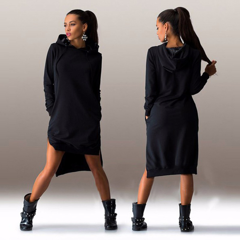 6b70f8ff945 Women Autumn Sweater Dress Ladies Fall Low High Slit Side Split Hoodie  Dresses Woman Asymmetric Long Jumper Pullover Outfit-in Dresses from  Women s Clothing ...