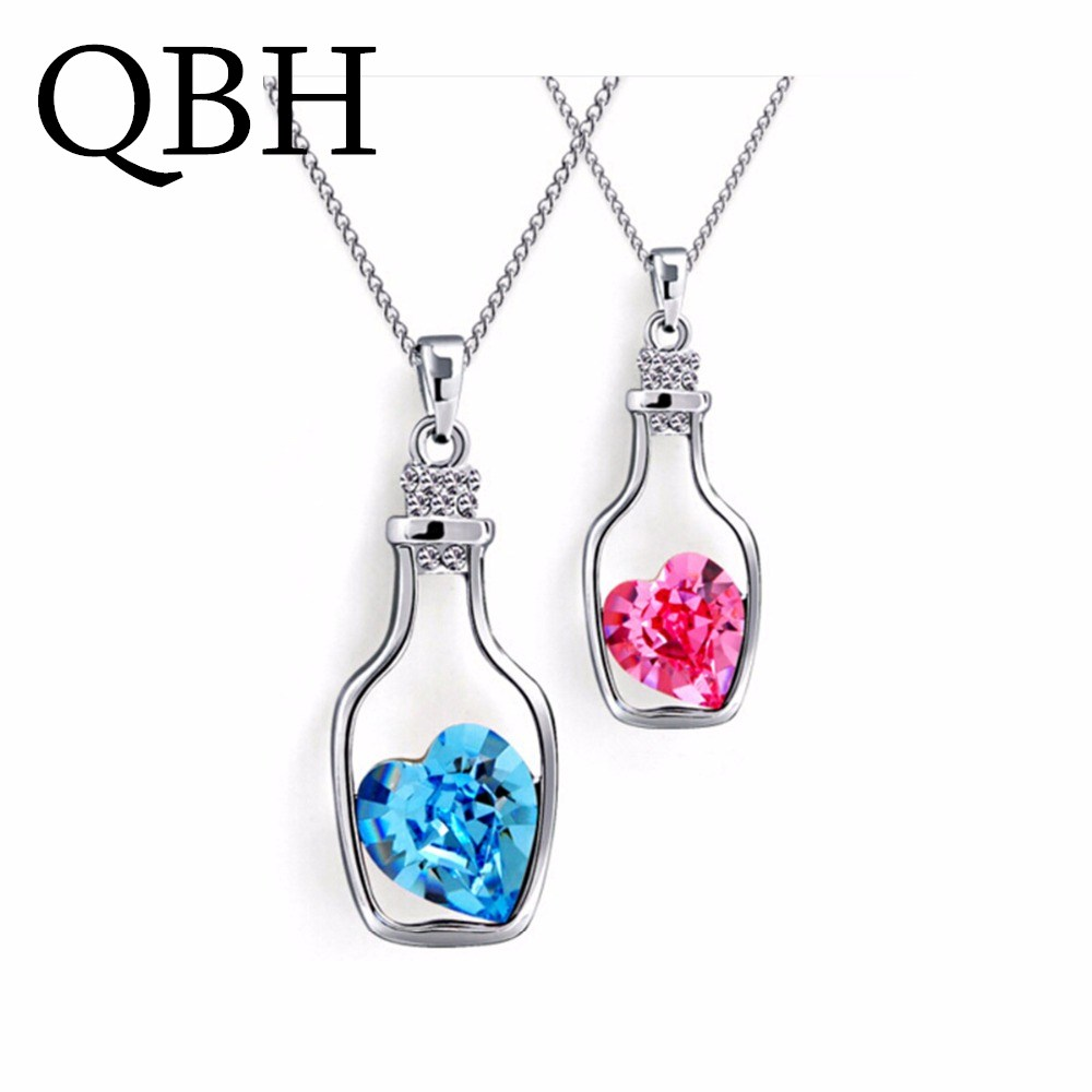 NK712 Hot Fashion Punk Collares Men Bijoux Wish Bottle Crystal Heart Pendant Necklace For Women Chain Jewelry Statement collier