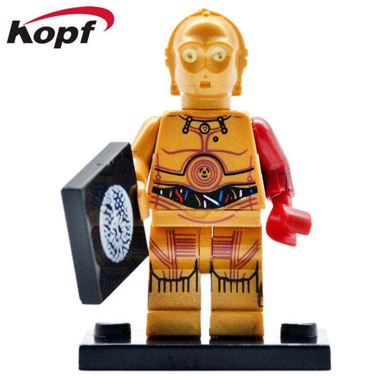 PG653 20Pcs Building Blocks Super Heroes C3PO C-3PO With Red Left Arm Star Wars Limited Bricks Collection Toys for children Gift