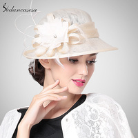 Brand 2016 Fashion Spring Summer Autumn Womens Brown RIvory Yellow Color Sinamay Hat With Flower SW201007