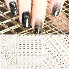 1 лист 3d наклеек для золотых ногтей наклейки металлические